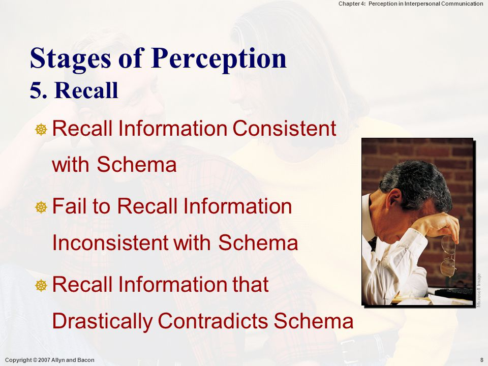 Stages of Perception 5. Recall