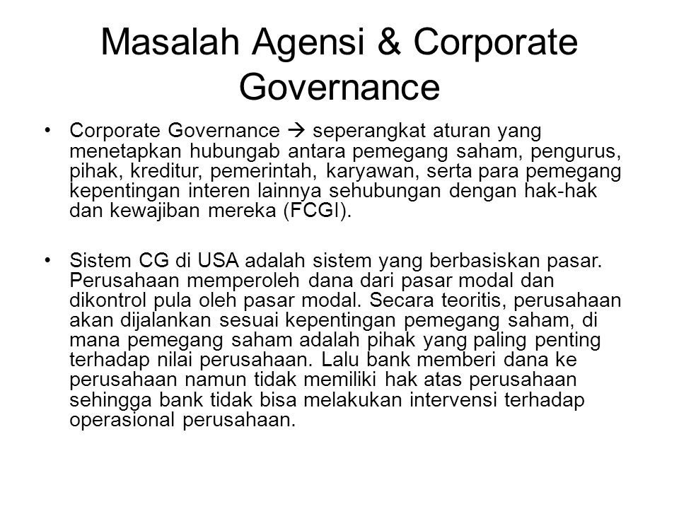 Masalah Agensi & Corporate Governance