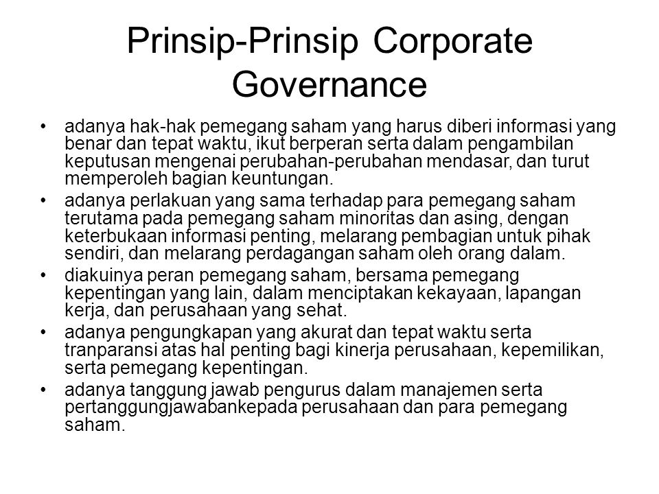 Prinsip-Prinsip Corporate Governance