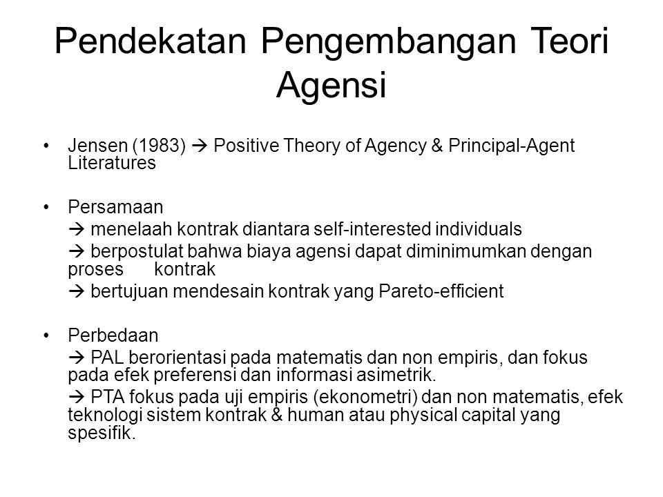 Pendekatan Pengembangan Teori Agensi
