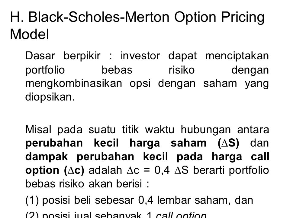 H. Black-Scholes-Merton Option Pricing Model