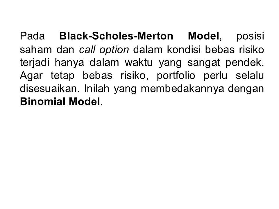 Pada Black-Scholes-Merton Model, posisi saham dan call option dalam kondisi bebas risiko terjadi hanya dalam waktu yang sangat pendek.
