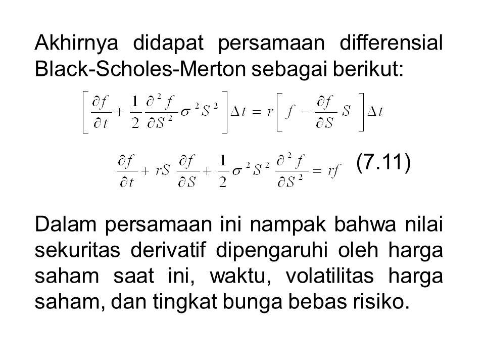 Akhirnya didapat persamaan differensial Black-Scholes-Merton sebagai berikut: (7.11) Dalam persamaan ini nampak bahwa nilai sekuritas derivatif dipengaruhi oleh harga saham saat ini, waktu, volatilitas harga saham, dan tingkat bunga bebas risiko.