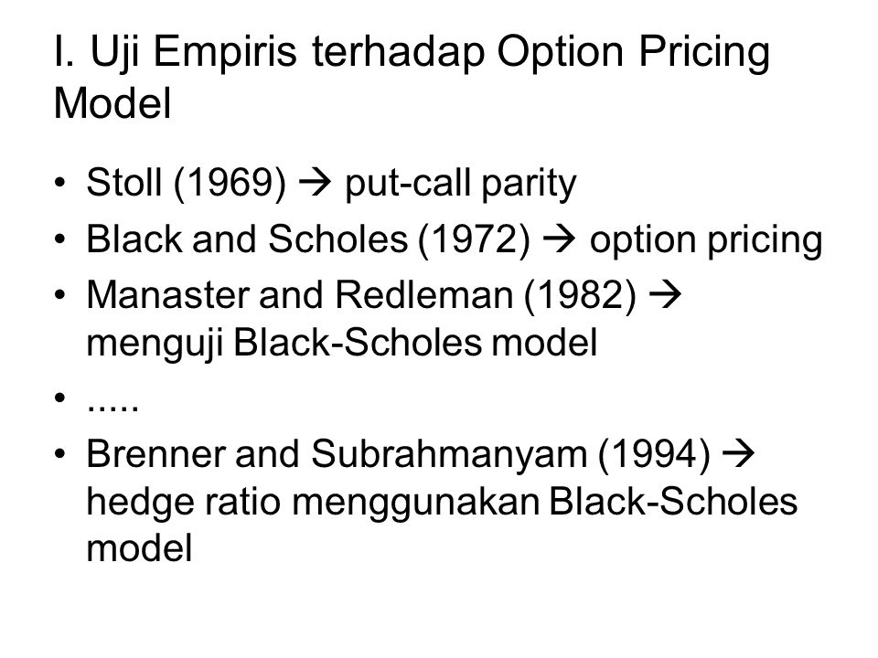 I. Uji Empiris terhadap Option Pricing Model