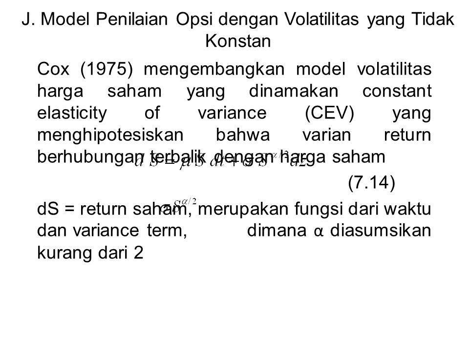 J. Model Penilaian Opsi dengan Volatilitas yang Tidak Konstan