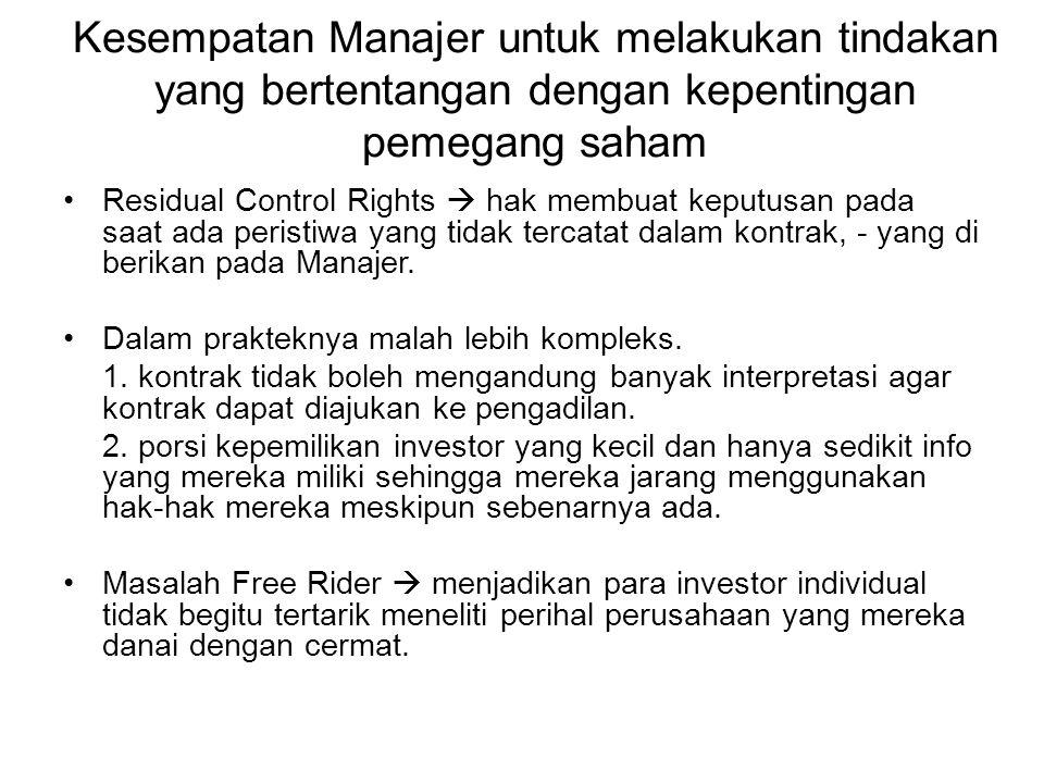 Kesempatan Manajer untuk melakukan tindakan yang bertentangan dengan kepentingan pemegang saham