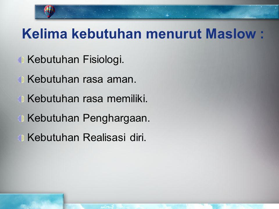 Kelima kebutuhan menurut Maslow :