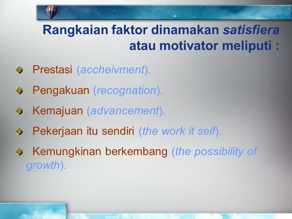 Rangkaian faktor dinamakan satisfiera atau motivator meliputi :