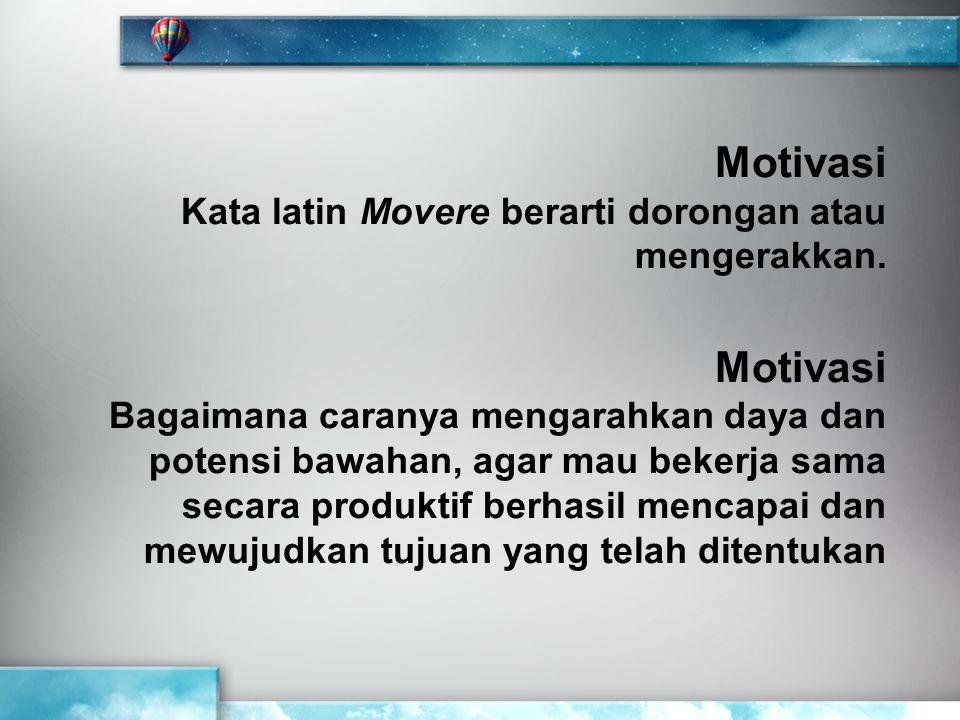 Motivasi Kata latin Movere berarti dorongan atau mengerakkan