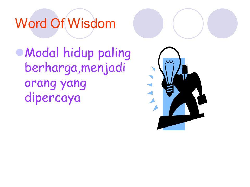 Word Of Wisdom Modal hidup paling berharga,menjadi orang yang dipercaya