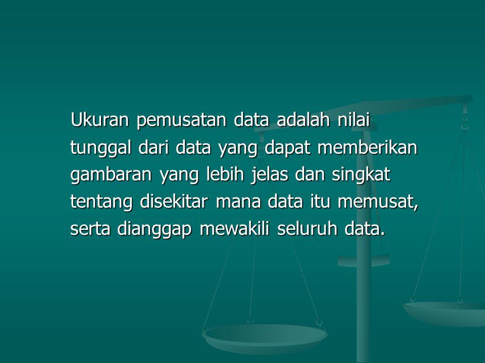Ukuran pemusatan data adalah nilai