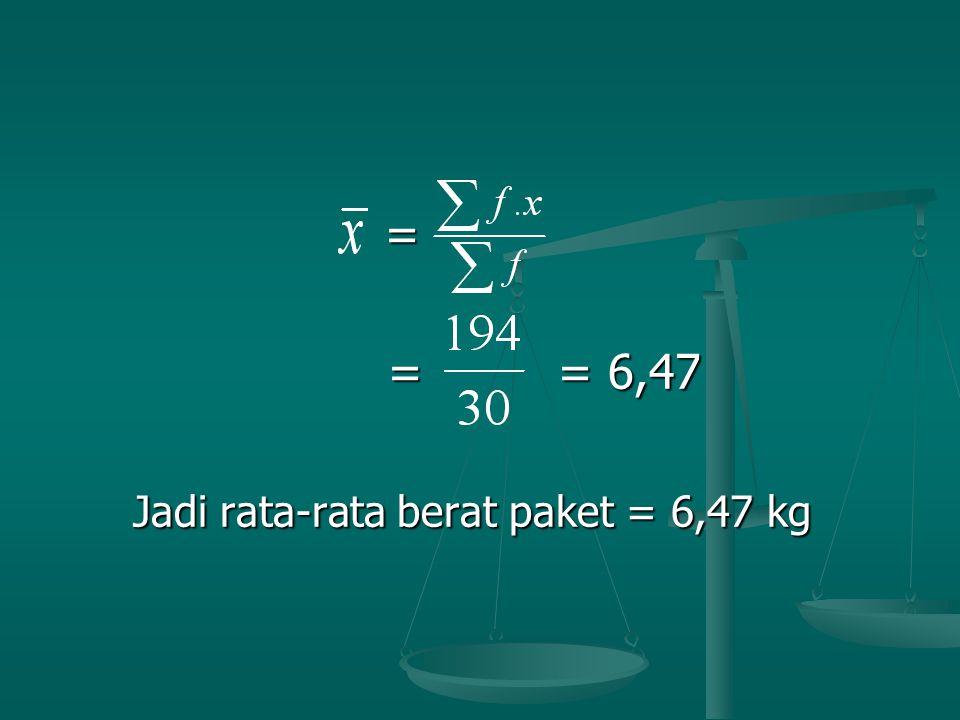 Jadi rata-rata berat paket = 6,47 kg