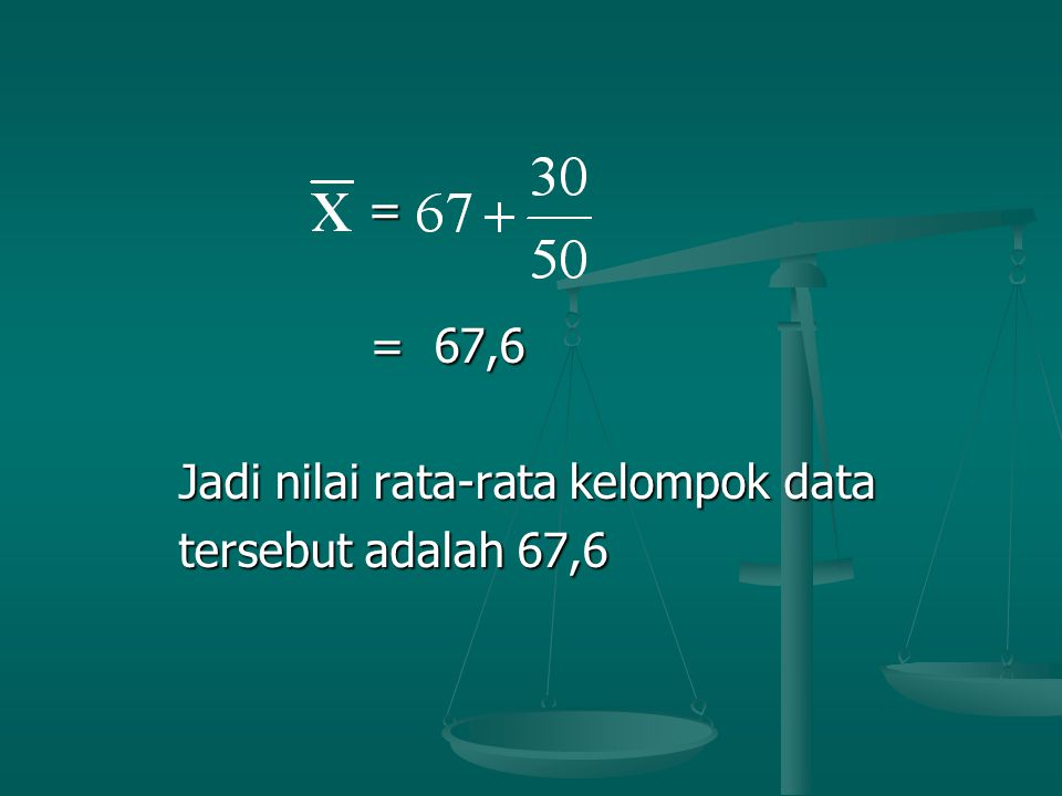 Jadi nilai rata-rata kelompok data tersebut adalah 67,6
