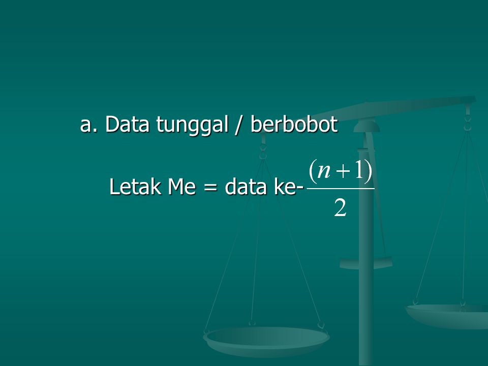 a. Data tunggal / berbobot