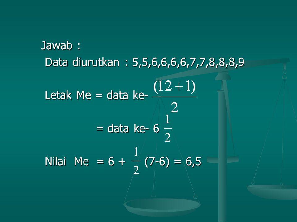 Jawab : Data diurutkan : 5,5,6,6,6,6,7,7,8,8,8,9. Letak Me = data ke- = data ke- 6.