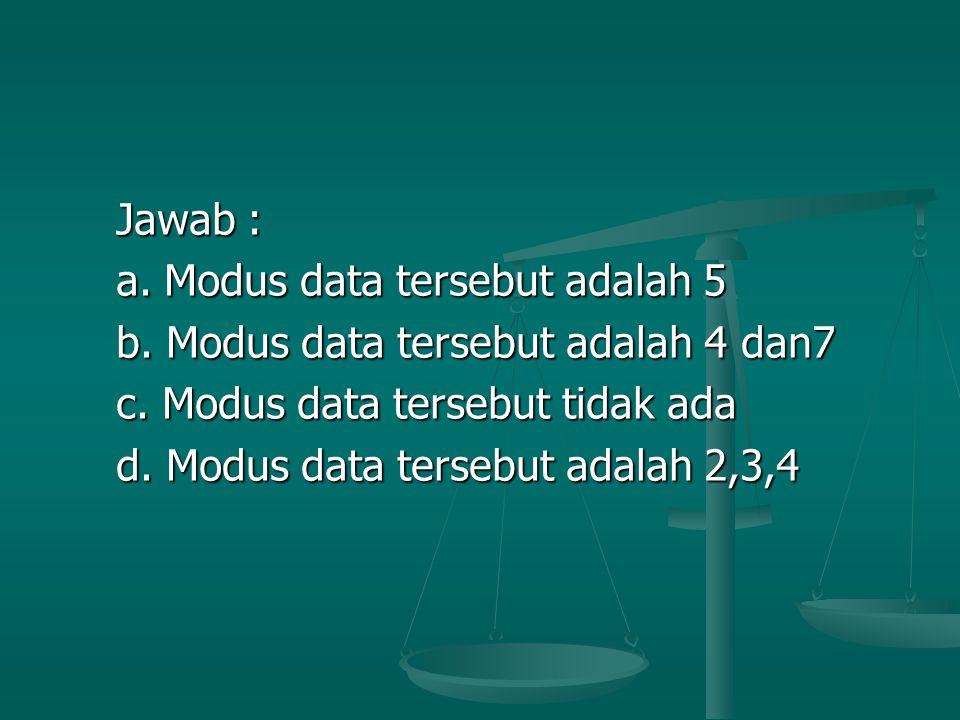 Jawab : a. Modus data tersebut adalah 5. b. Modus data tersebut adalah 4 dan7. c. Modus data tersebut tidak ada.