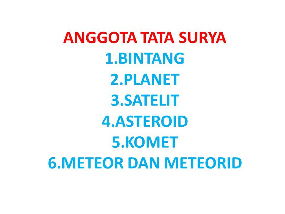 ANGGOTA TATA SURYA BINTANG PLANET SATELIT ASTEROID KOMET METEOR DAN METEORID