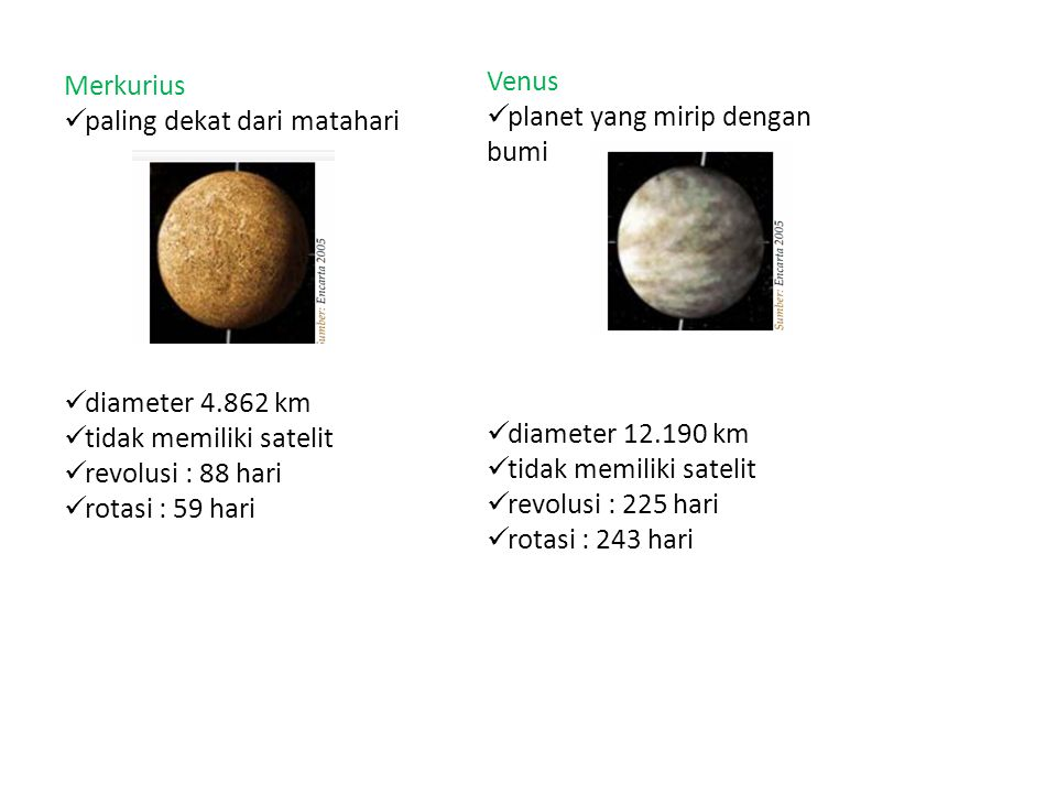 Merkurius paling dekat dari matahari. diameter 4.862 km. tidak memiliki satelit. revolusi : 88 hari.