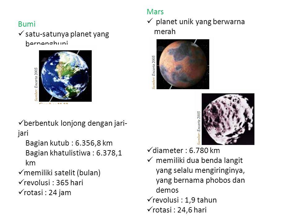 Mars planet unik yang berwarna merah. diameter : 6.780 km. memiliki dua benda langit yang selalu mengiringinya, yang bernama phobos dan demos.