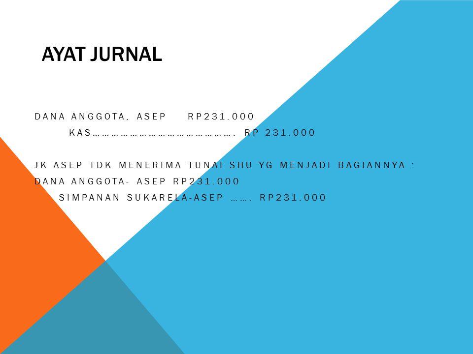 Ayat jurnal Dana anggota, Asep Rp231.000