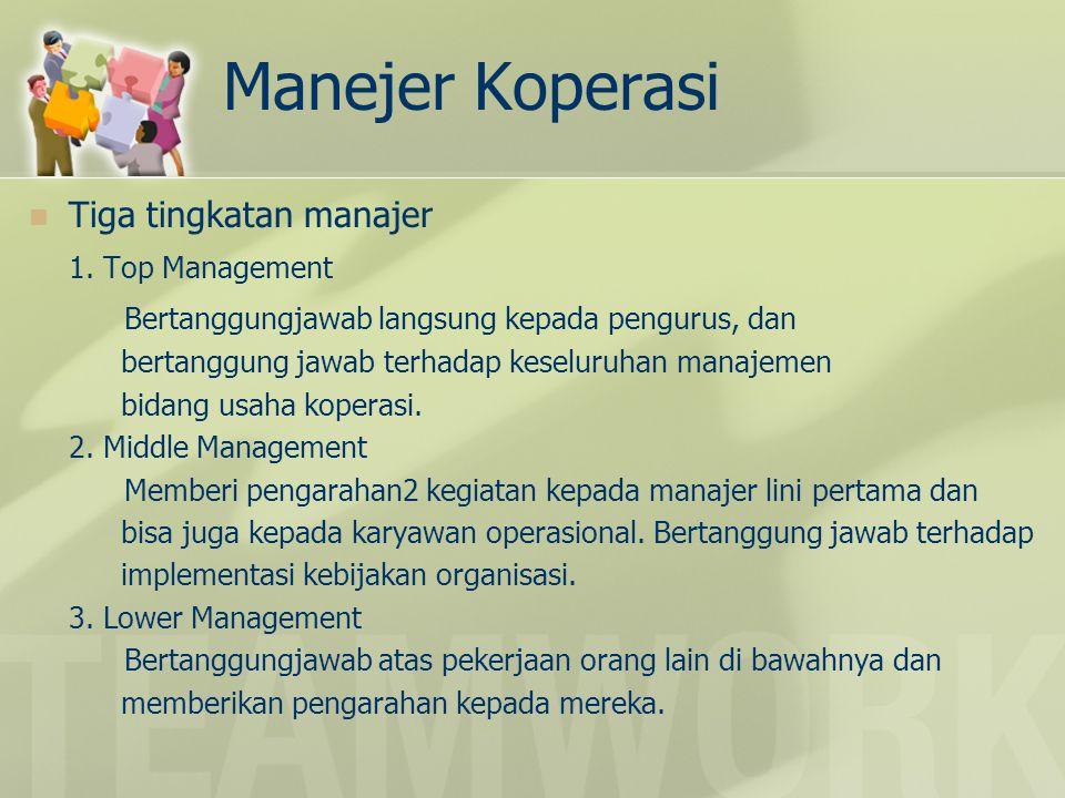 Manejer Koperasi Tiga tingkatan manajer 1. Top Management