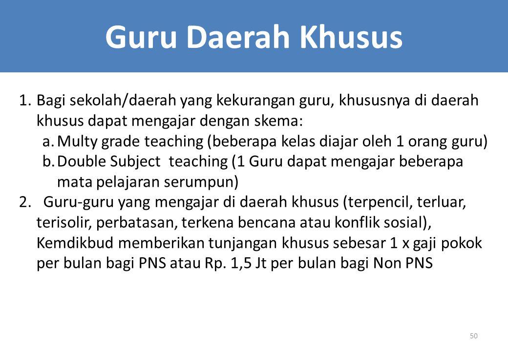 Guru Daerah Khusus Bagi sekolah/daerah yang kekurangan guru, khususnya di daerah khusus dapat mengajar dengan skema:
