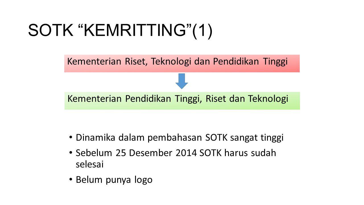 SOTK KEMRITTING (1) Kementerian Riset, Teknologi dan Pendidikan Tinggi. Kementerian Pendidikan Tinggi, Riset dan Teknologi.