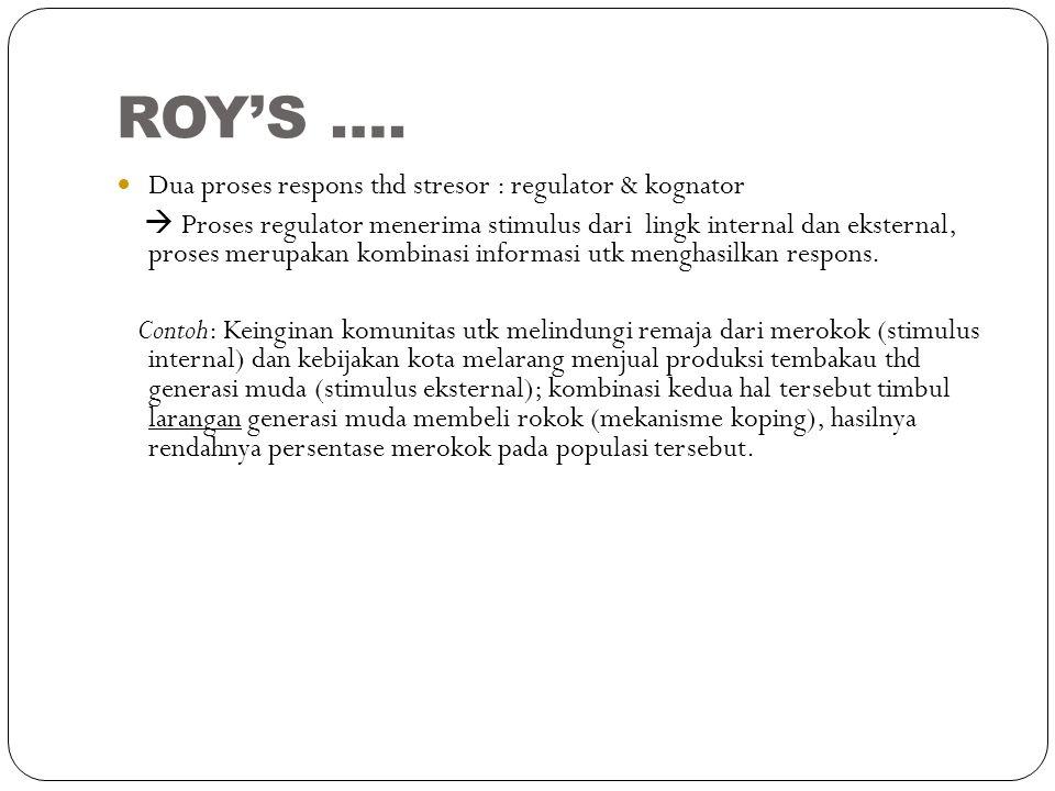 ROY'S …. Dua proses respons thd stresor : regulator & kognator