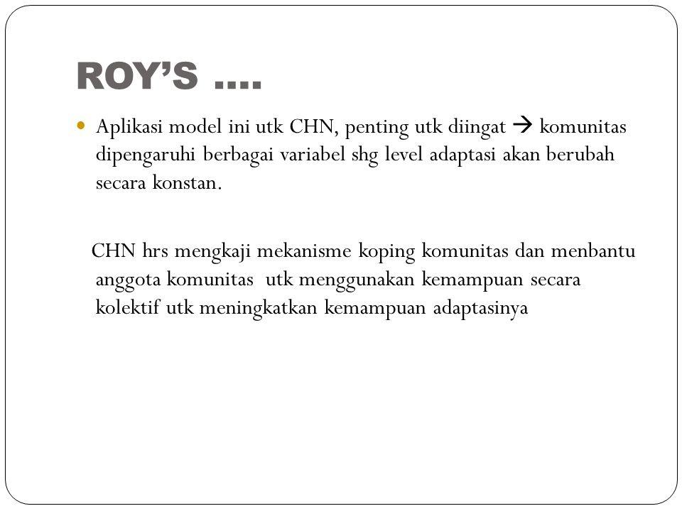 ROY'S …. Aplikasi model ini utk CHN, penting utk diingat  komunitas dipengaruhi berbagai variabel shg level adaptasi akan berubah secara konstan.