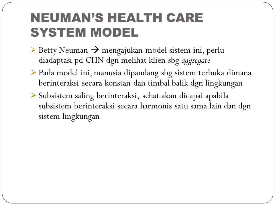 NEUMAN'S HEALTH CARE SYSTEM MODEL