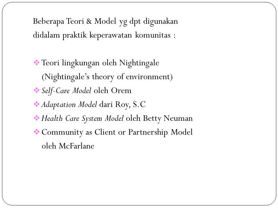 Beberapa Teori & Model yg dpt digunakan