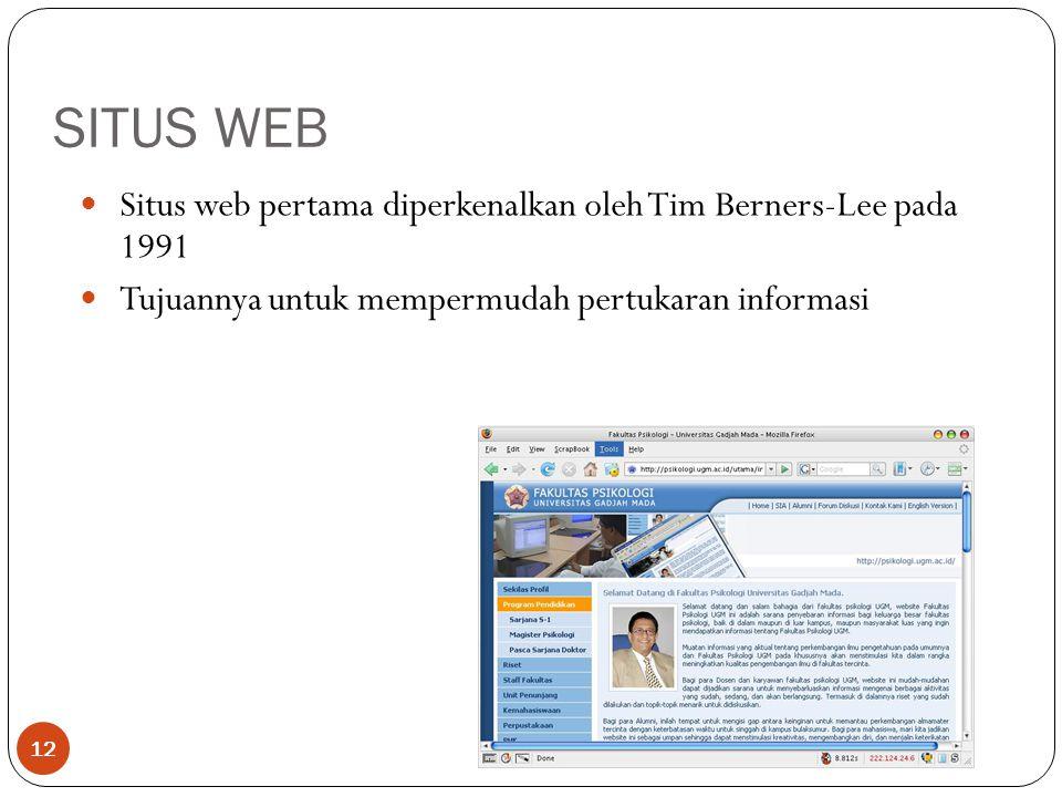 SITUS WEB Situs web pertama diperkenalkan oleh Tim Berners-Lee pada 1991.