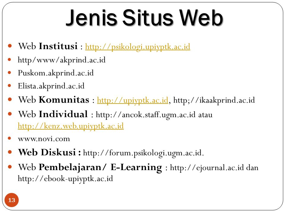 Jenis Situs Web Web Institusi : http://psikologi.upiyptk.ac.id