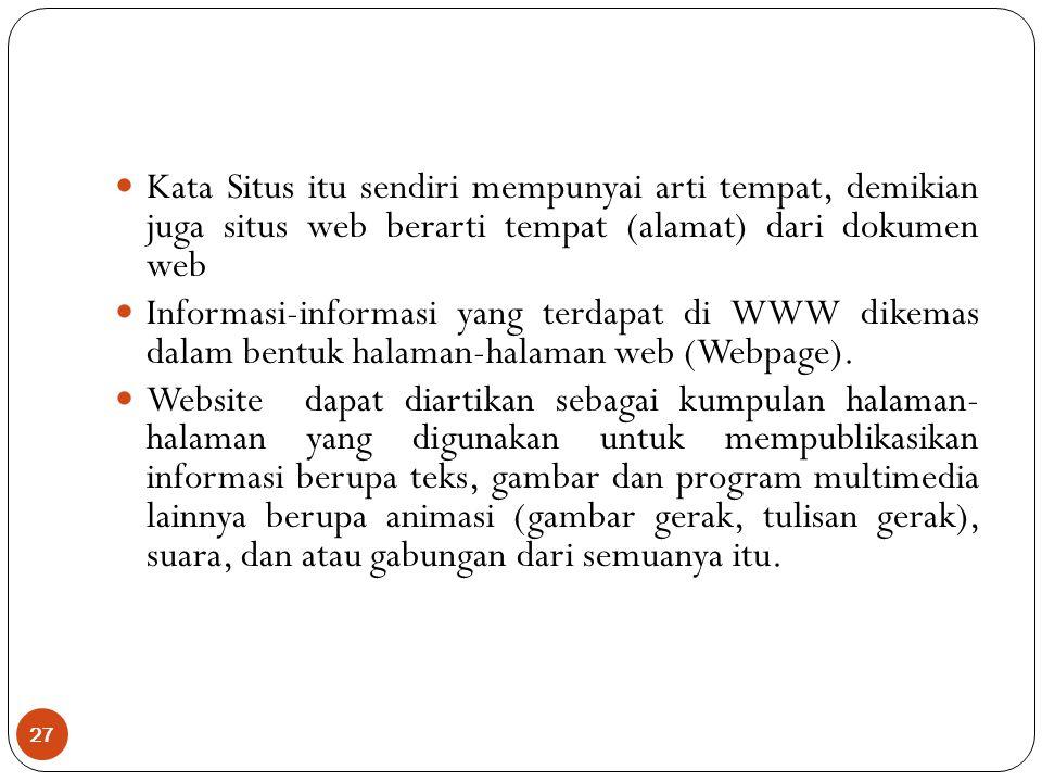 Kata Situs itu sendiri mempunyai arti tempat, demikian juga situs web berarti tempat (alamat) dari dokumen web