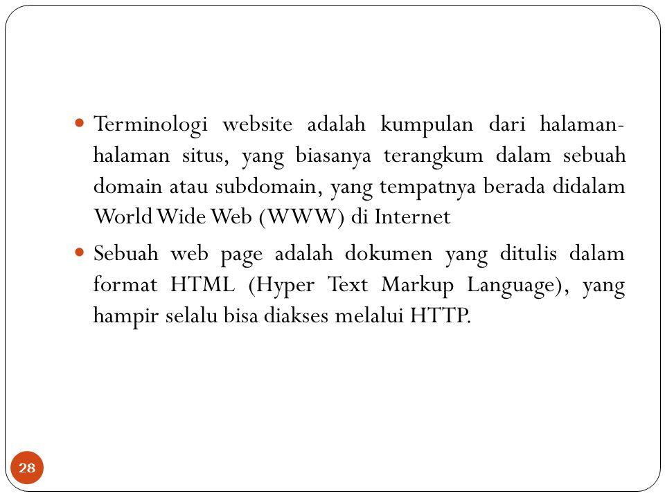 Terminologi website adalah kumpulan dari halaman- halaman situs, yang biasanya terangkum dalam sebuah domain atau subdomain, yang tempatnya berada didalam World Wide Web (WWW) di Internet