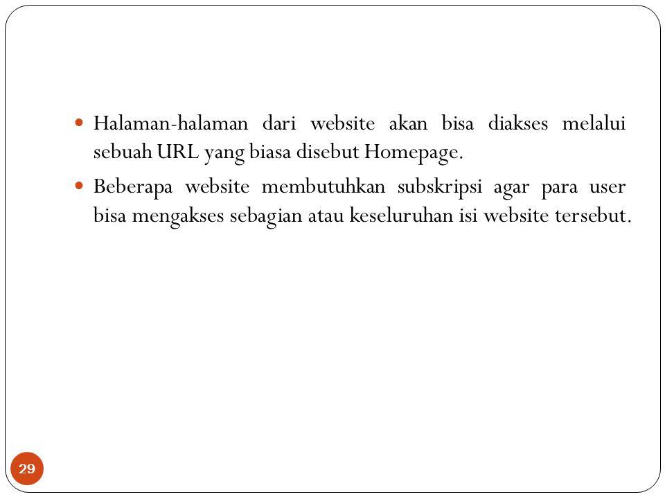 Halaman-halaman dari website akan bisa diakses melalui sebuah URL yang biasa disebut Homepage.