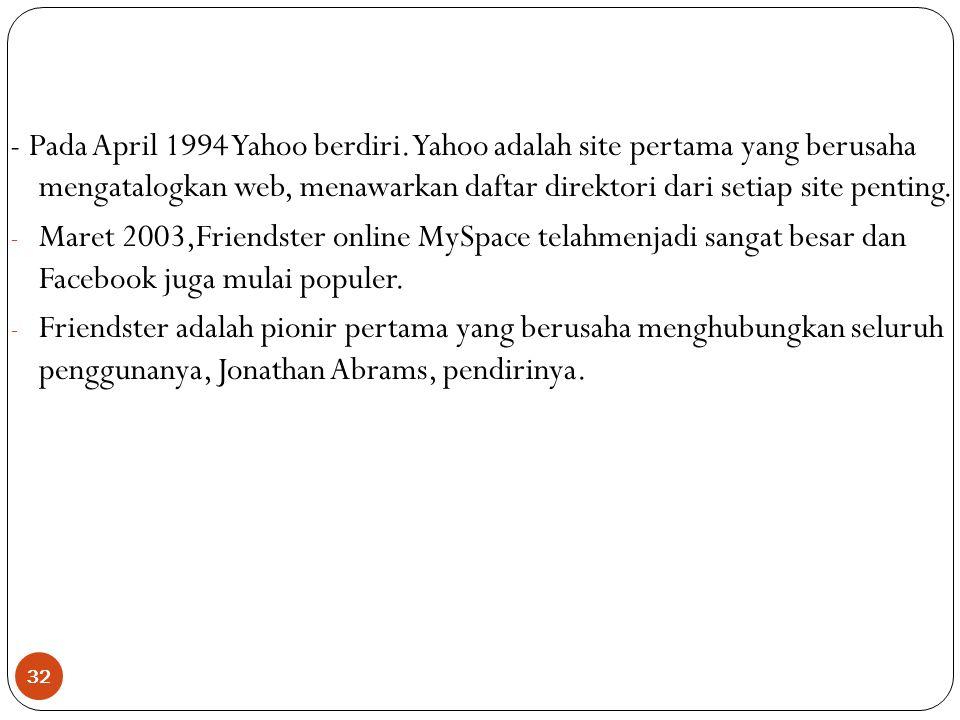 - Pada April 1994 Yahoo berdiri