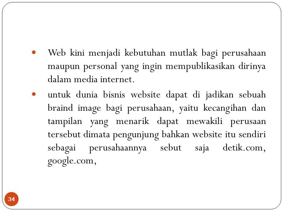 Web kini menjadi kebutuhan mutlak bagi perusahaan maupun personal yang ingin mempublikasikan dirinya dalam media internet.