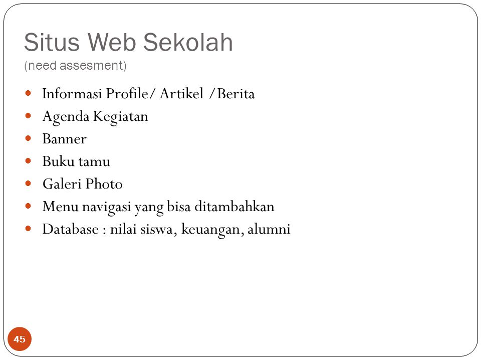 Situs Web Sekolah (need assesment)