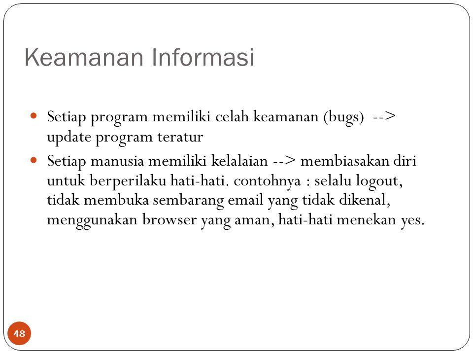 Keamanan Informasi Setiap program memiliki celah keamanan (bugs) --> update program teratur.