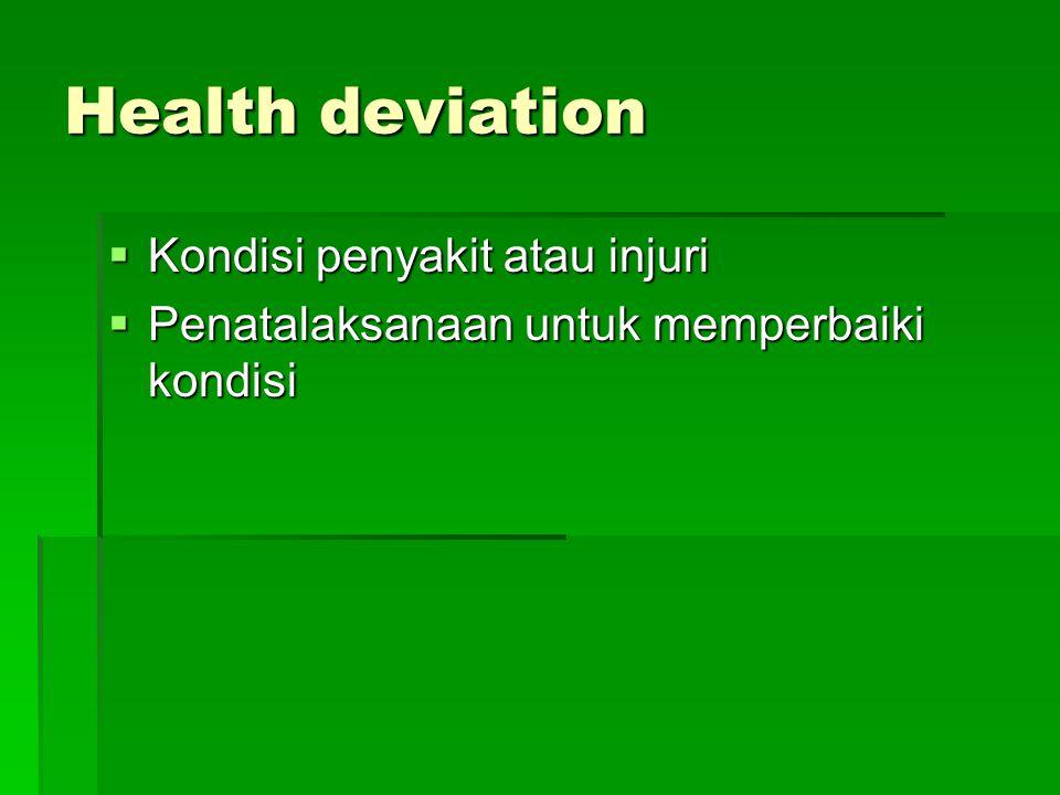 Health deviation Kondisi penyakit atau injuri