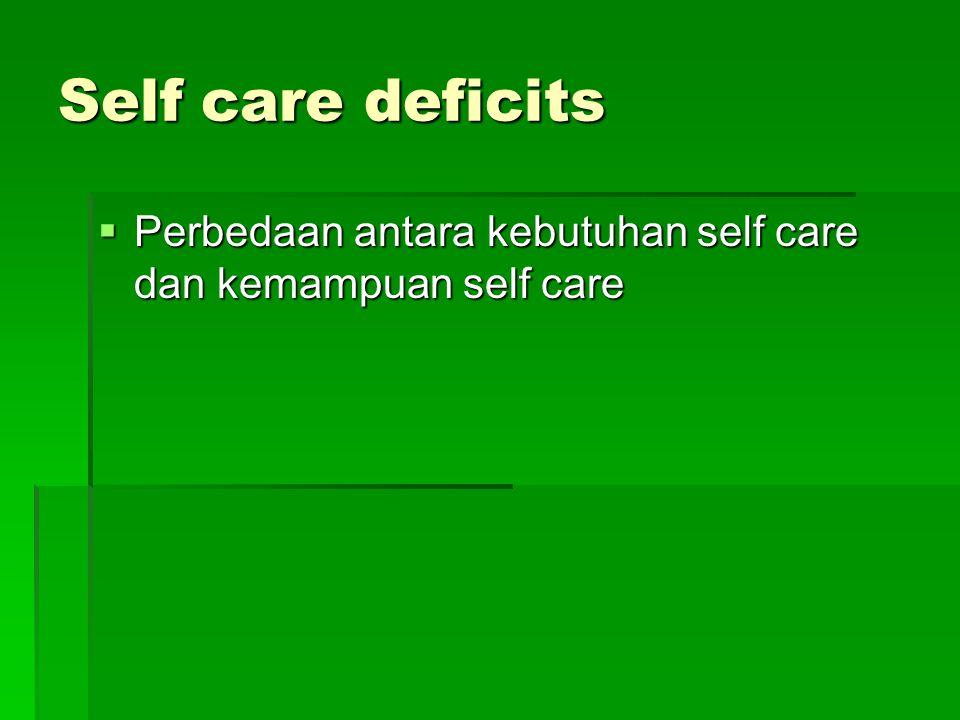 Self care deficits Perbedaan antara kebutuhan self care dan kemampuan self care