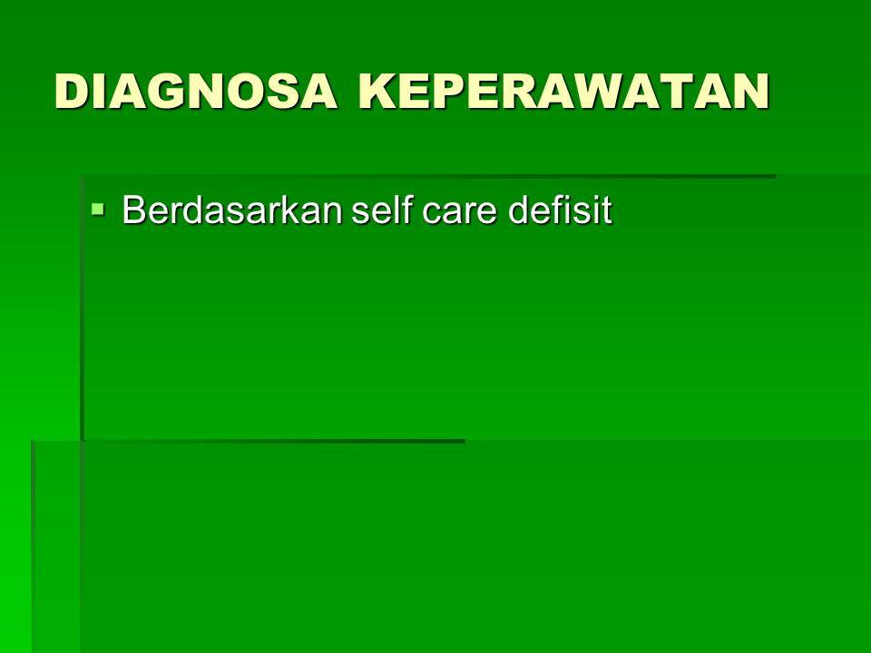 DIAGNOSA KEPERAWATAN Berdasarkan self care defisit