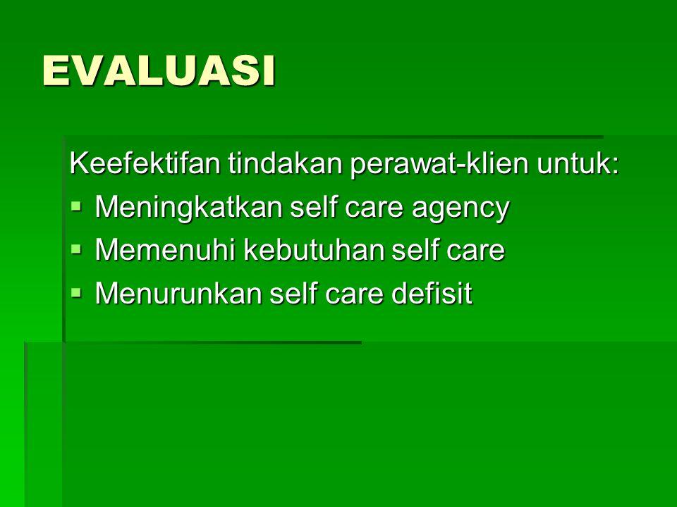 EVALUASI Keefektifan tindakan perawat-klien untuk: