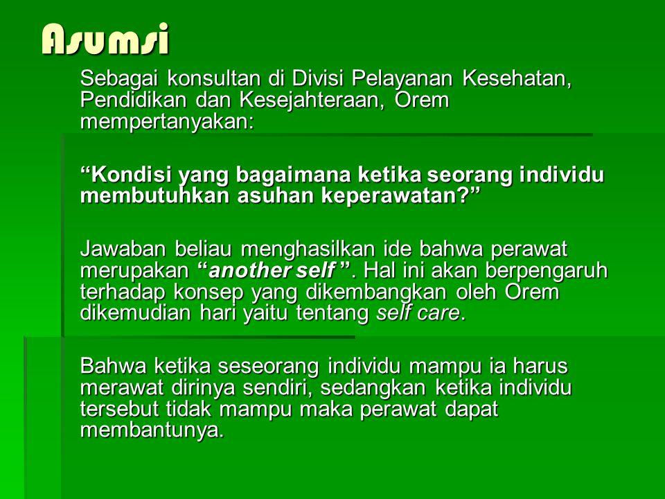 Asumsi Sebagai konsultan di Divisi Pelayanan Kesehatan, Pendidikan dan Kesejahteraan, Orem mempertanyakan:
