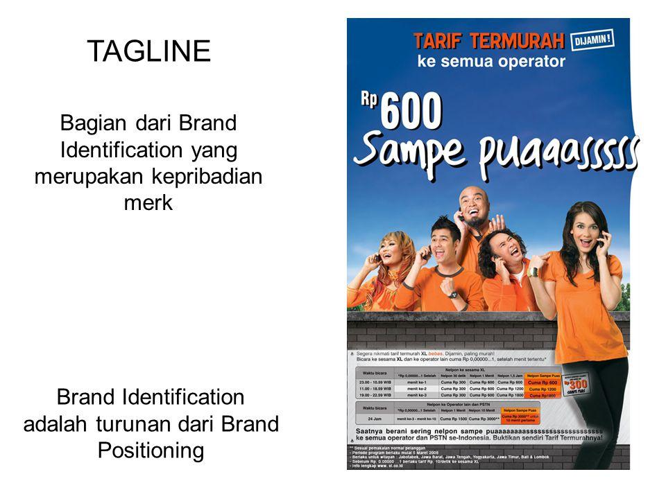TAGLINE Bagian dari Brand Identification yang merupakan kepribadian merk.