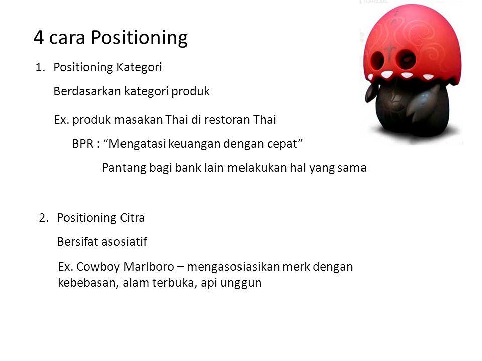 4 cara Positioning Positioning Kategori Berdasarkan kategori produk