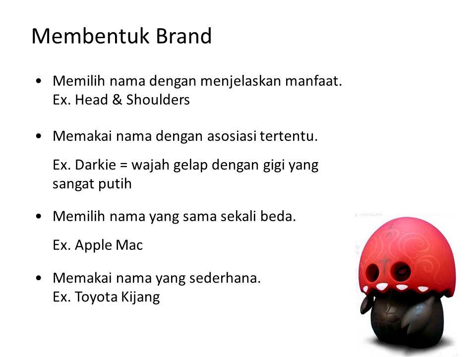 Membentuk Brand Memilih nama dengan menjelaskan manfaat. Ex. Head & Shoulders. Memakai nama dengan asosiasi tertentu.