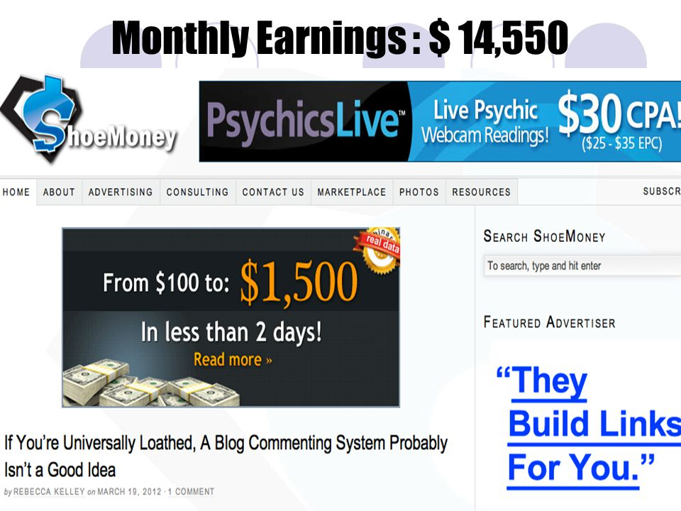 Monthly Earnings : $ 14,550