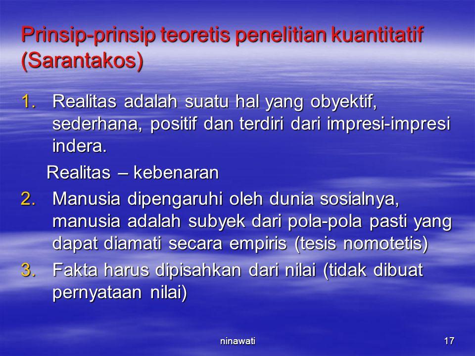 Prinsip-prinsip teoretis penelitian kuantitatif (Sarantakos)